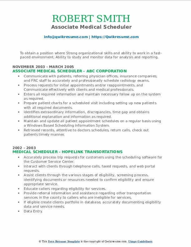 Associate Medical Scheduler Resume Sample