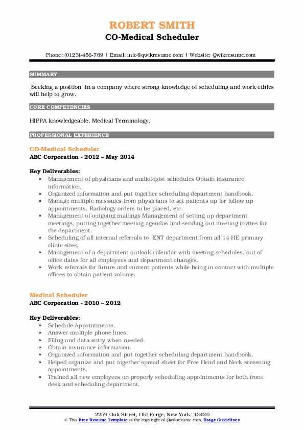 CO-Medical Scheduler Resume Format