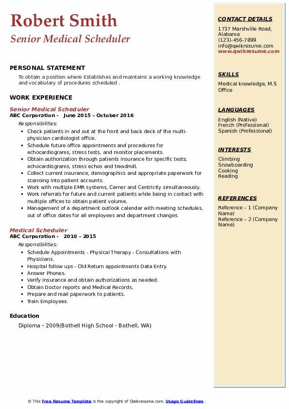 Senior Medical Scheduler Resume Template
