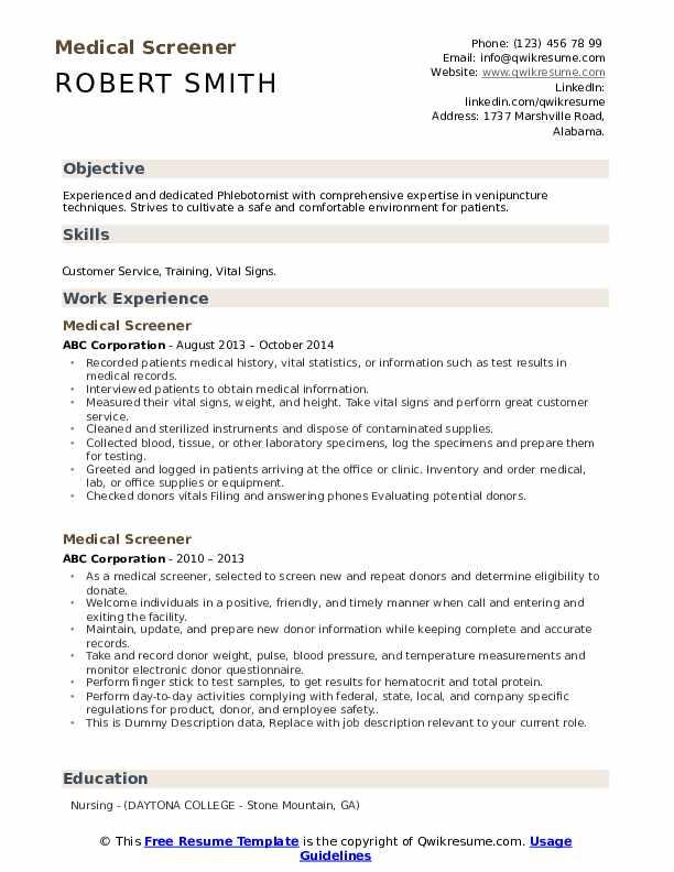 Medical Screener Resume example