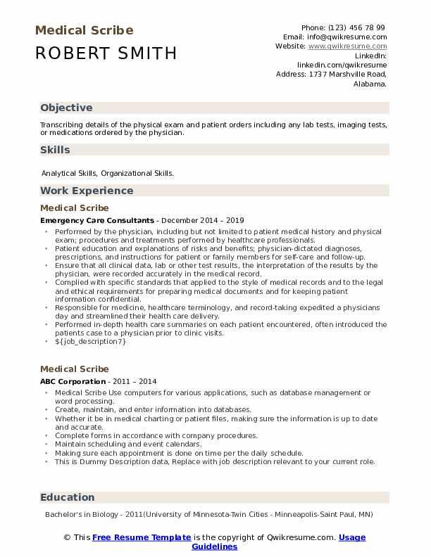 Medical Scribe Resume Sample