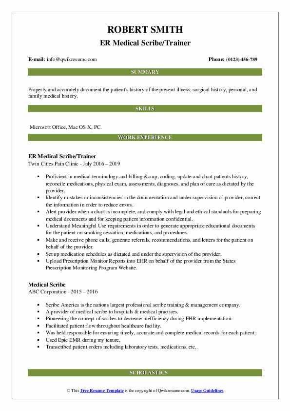 ER Medical Scribe/Trainer Resume Model