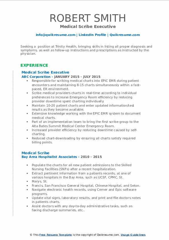 Medical Scribe Executive Resume Model