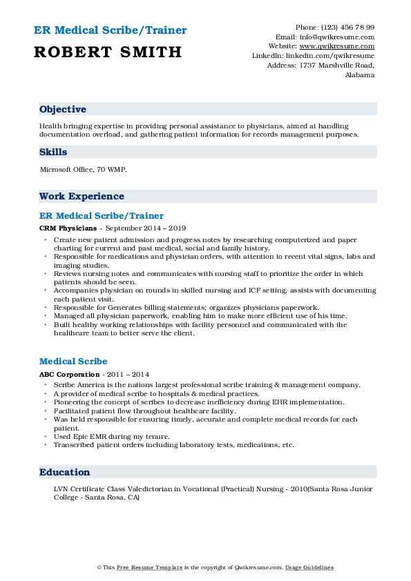 ER Medical Scribe/Trainer Resume Template