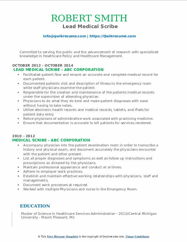 Lead Medical Scribe Resume Template
