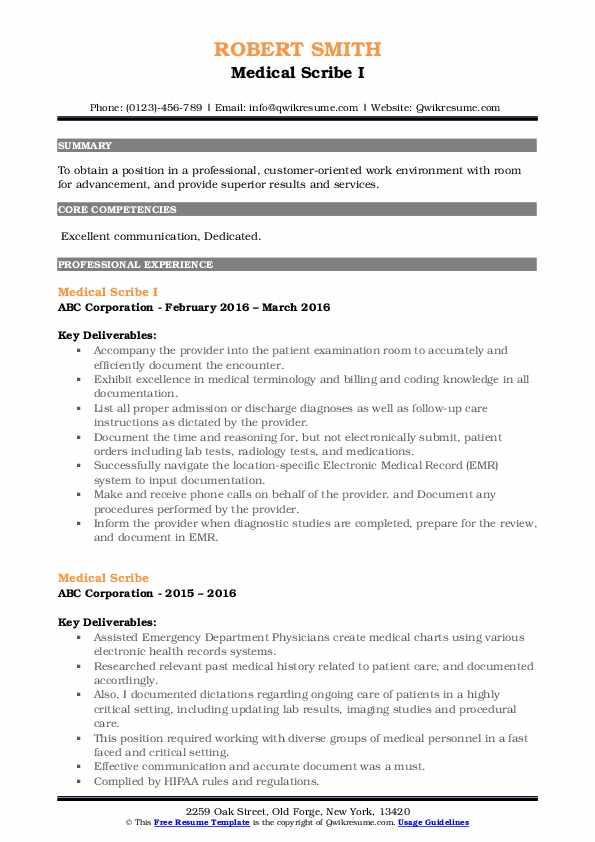 Medical Scribe I Resume Model