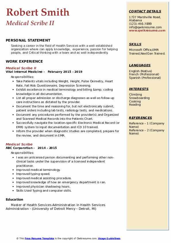 Medical Scribe II Resume Format