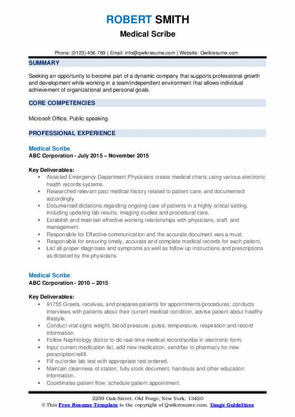 Medical Scribe Resume Samples Qwikresume