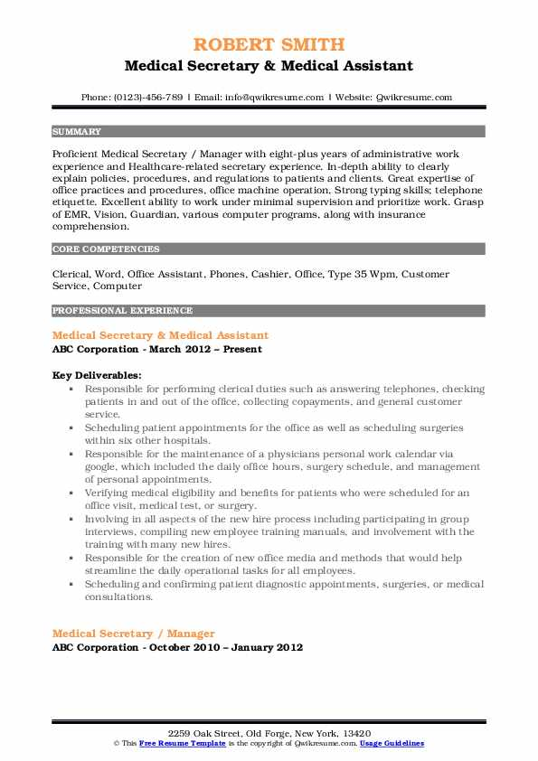 Medical Secretary Resume | Medical Secretary Resume Samples Qwikresume