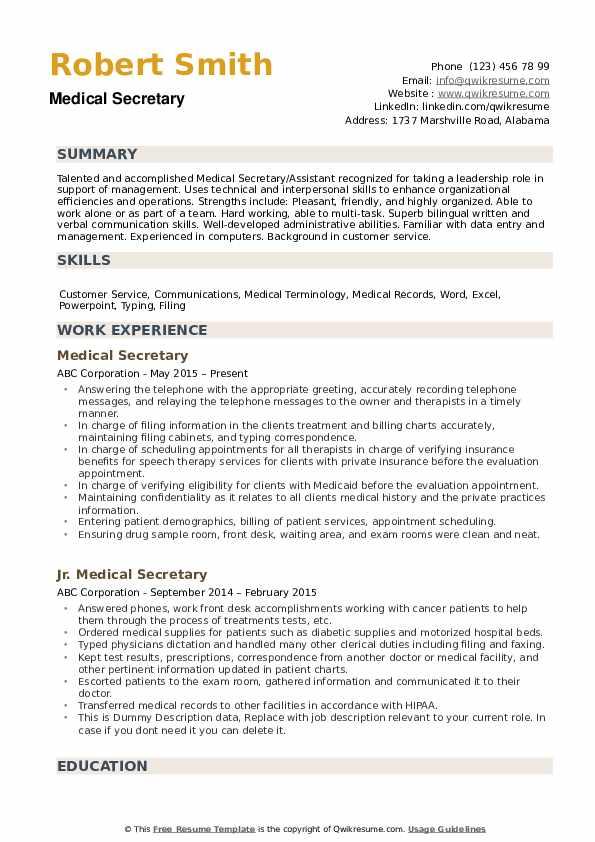 medical secretary resume samples