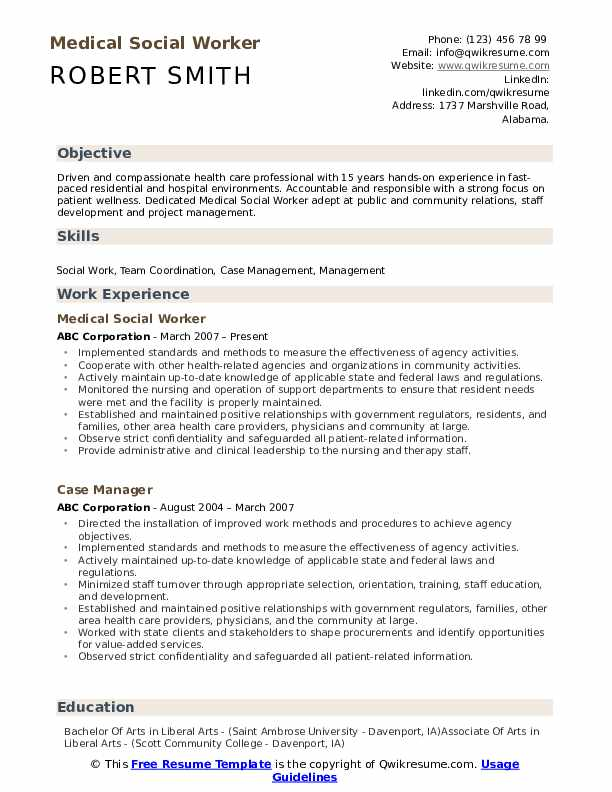 Medical Social Worker Resume Samples | QwikResume