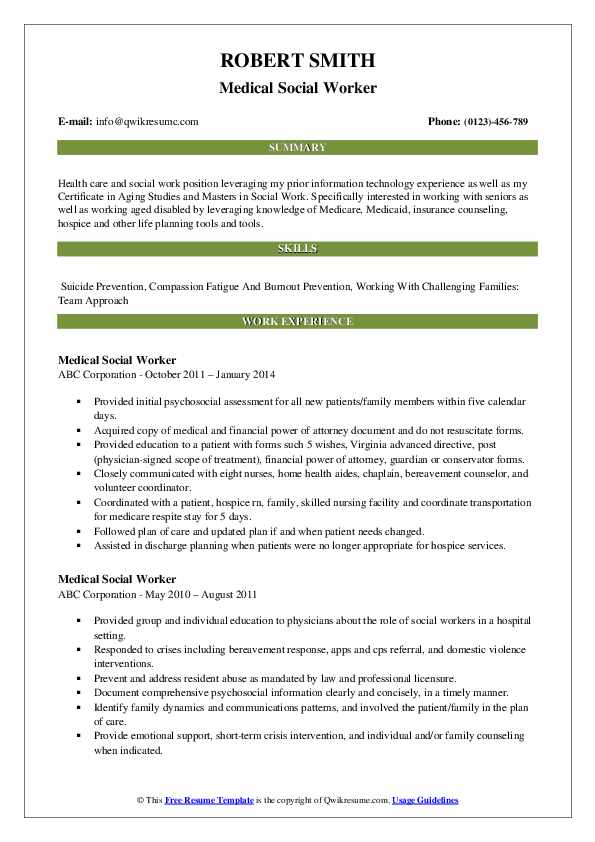medical social worker resume samples