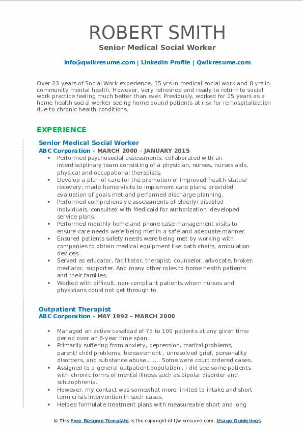 Medical Social Worker Resume Samples Qwikresume