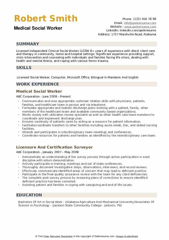 Medical Social Worker Resume example
