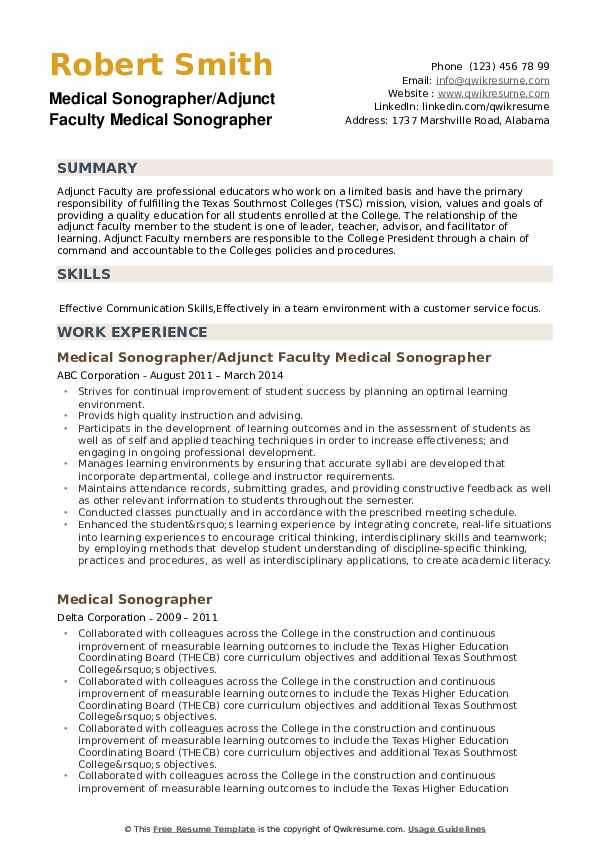 Medical Sonographer Resume example