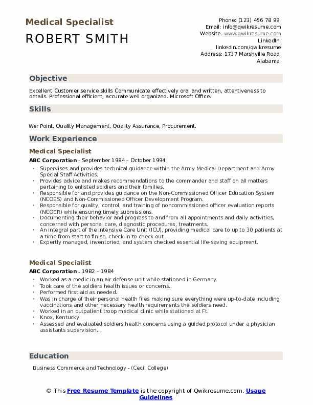 Medical Specialist Resume Format