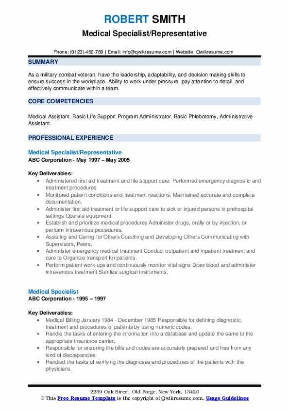 Medical Specialist/Representative Resume Model