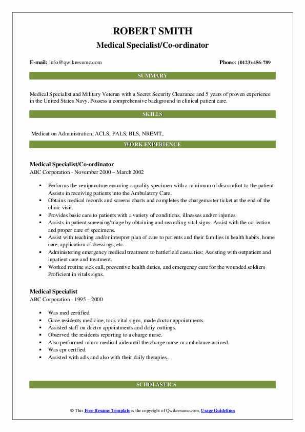 Medical Specialist/Co-ordinator Resume Template