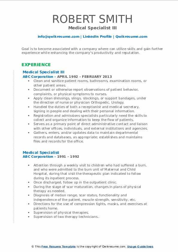 Medical Specialist III Resume Model