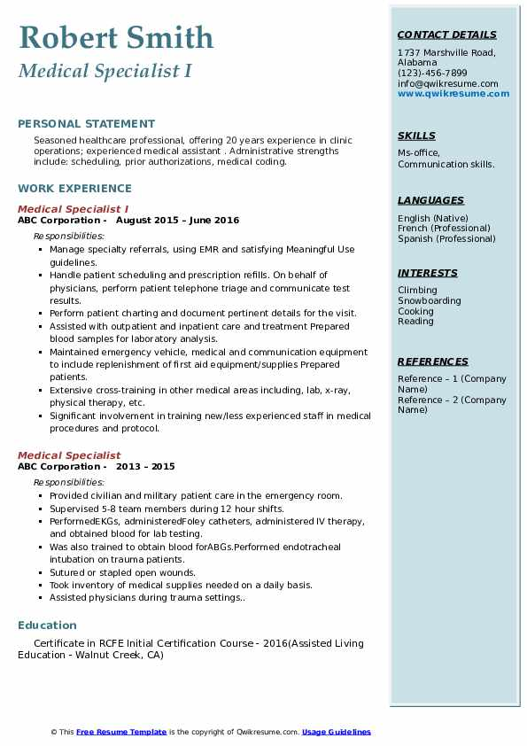 Medical Specialist I Resume Example