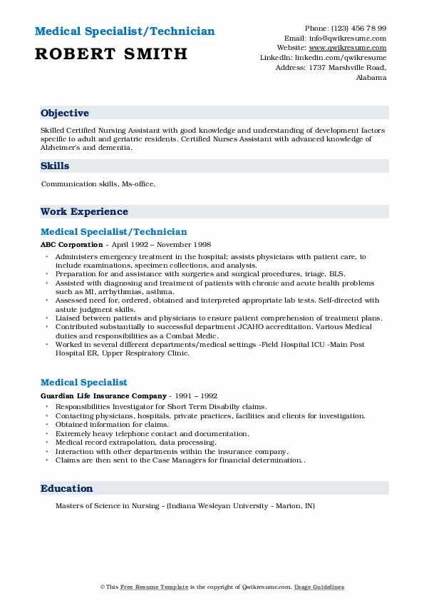 Medical Specialist/Technician Resume Template