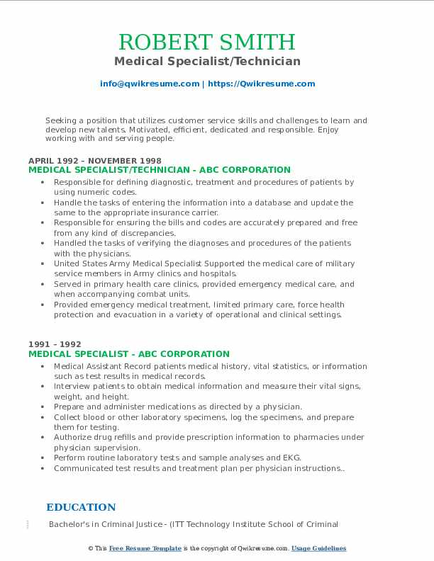 Medical Specialist/Technician Resume Example