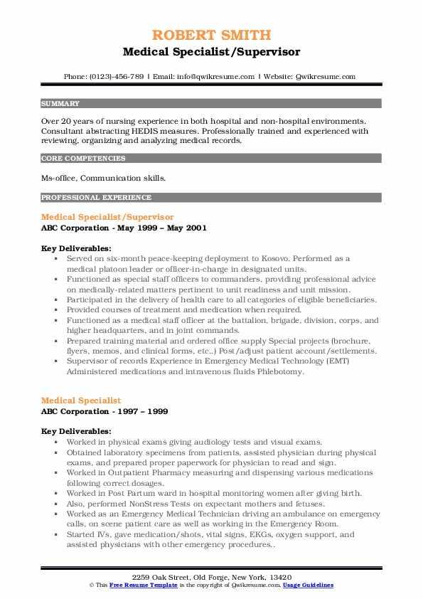 Medical Specialist/Supervisor Resume Format