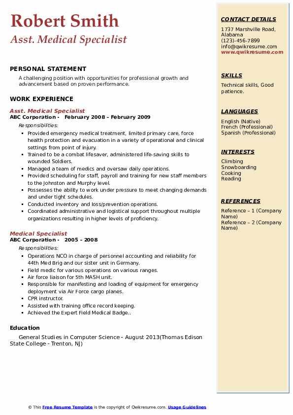 Asst. Medical Specialist Resume Format