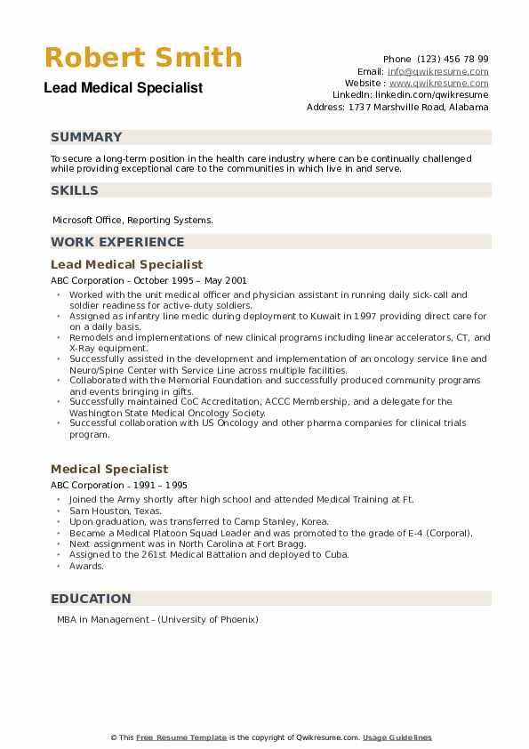 Lead Medical Specialist Resume Sample