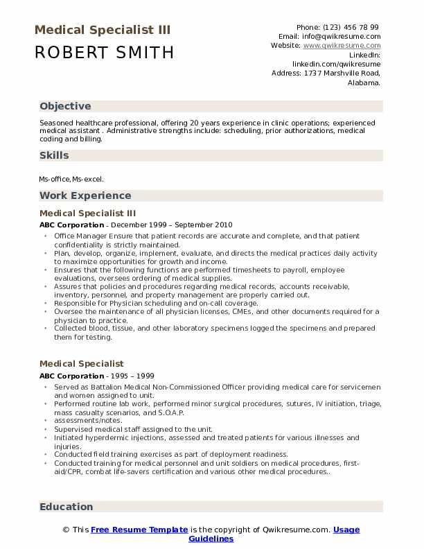Medical Specialist III Resume Sample