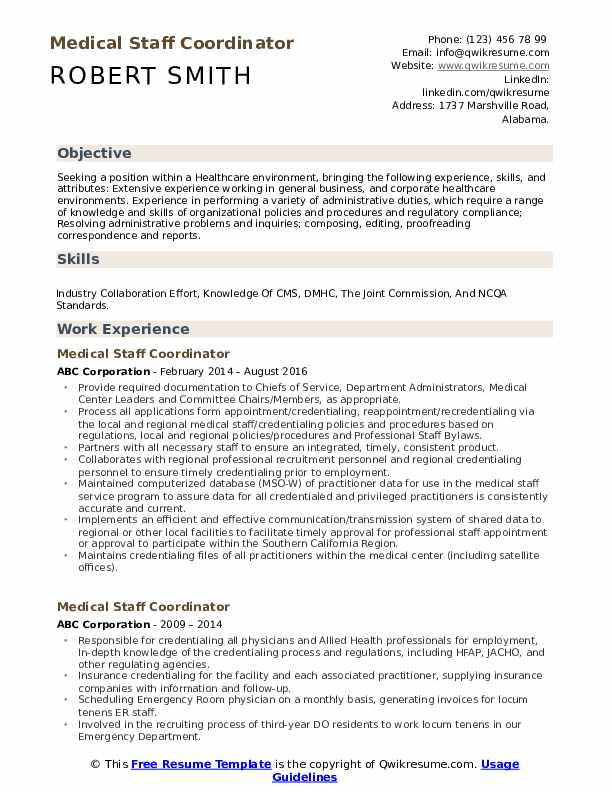 Medical staffing coordinator resume show a research paper