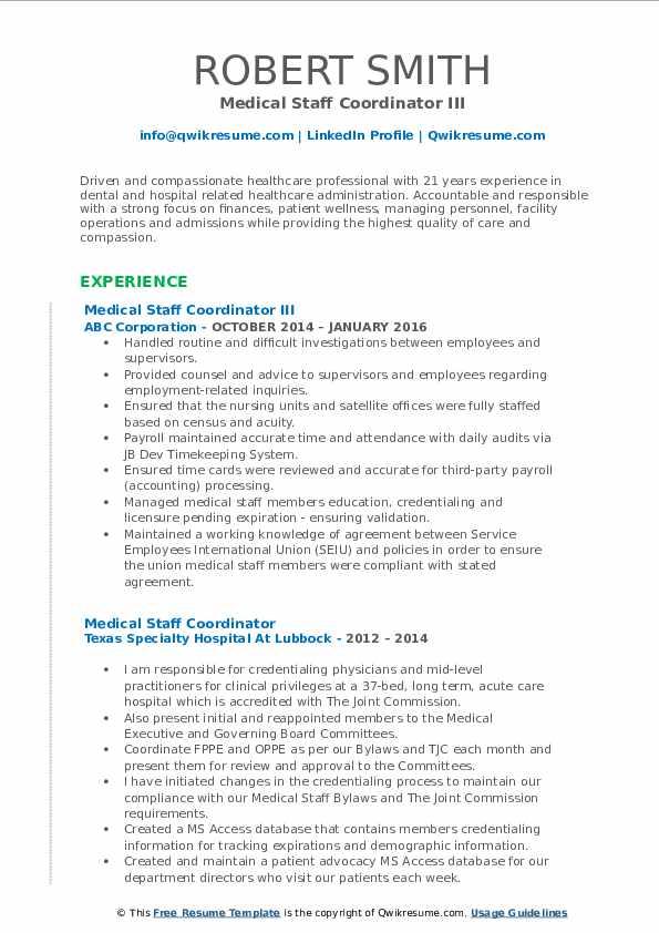 medical staff coordinator resume samples