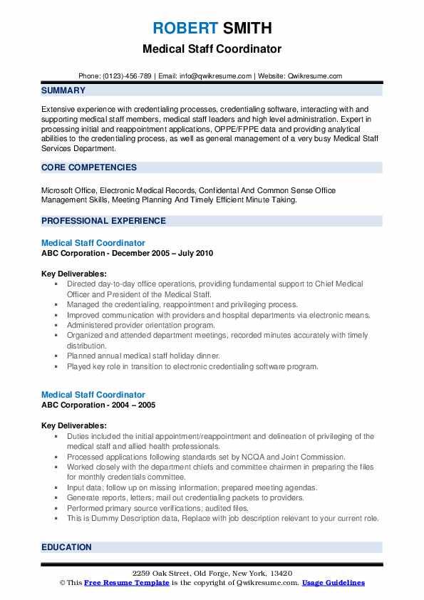 Medical Staff Coordinator Resume example