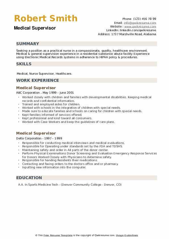 Medical Supervisor Resume example