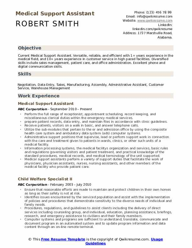 Medical Support Assistant Resume Format