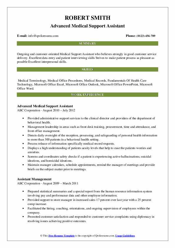 Advanced Medical Support Assistant Resume Sample