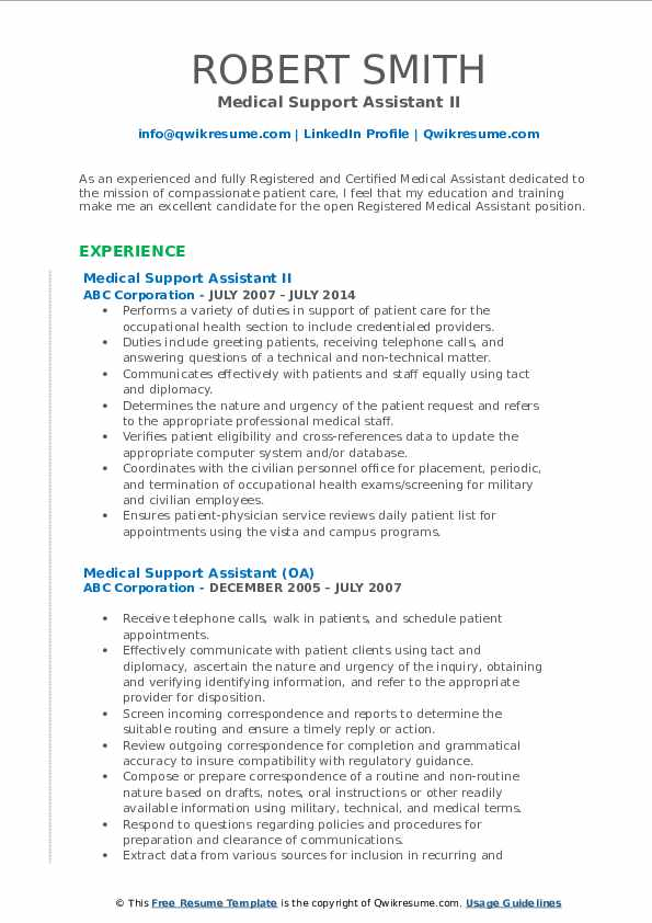 Medical Support Assistant II Resume Format