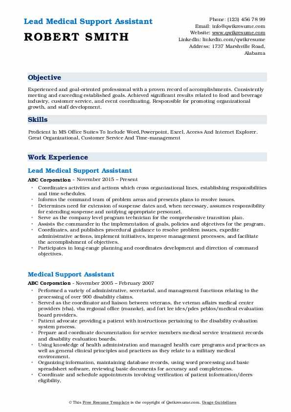 Lead Medical Support Assistant Resume Format
