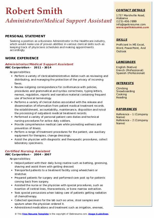 Medical Support Assistant Resume Samples Qwikresume