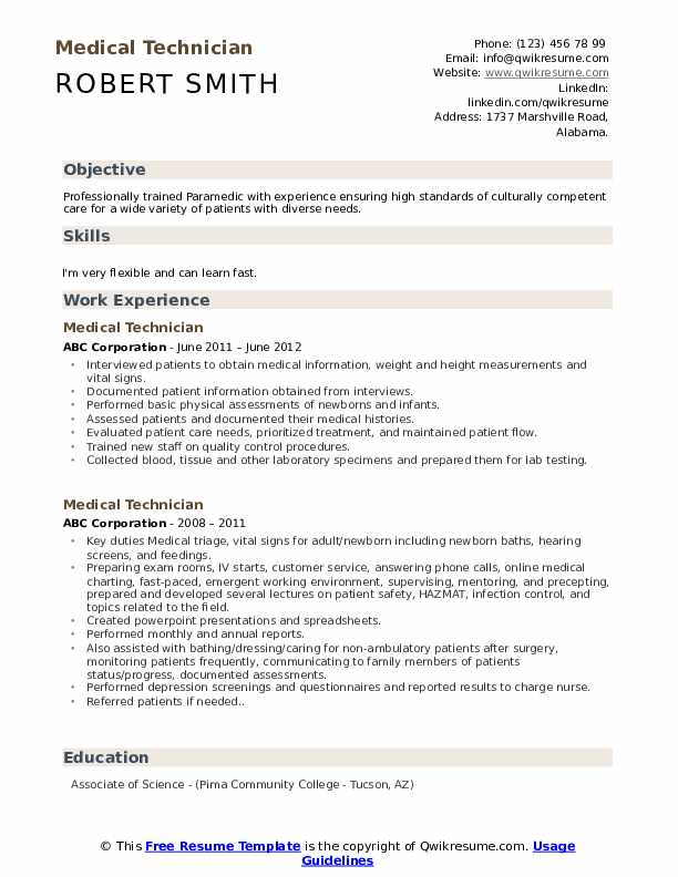 Medical Technician Resume Model