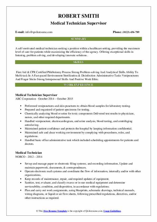 Medical Technician Supervisor Resume Template