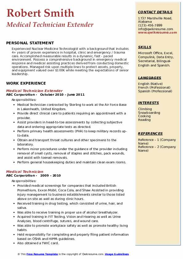 Medical Technician Extender Resume Model