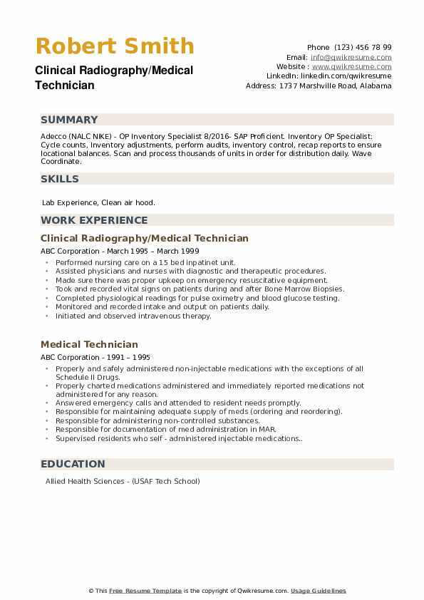 Clinical Radiography/Medical Technician Resume Model