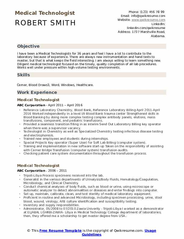 Medical Technologist Resume Model