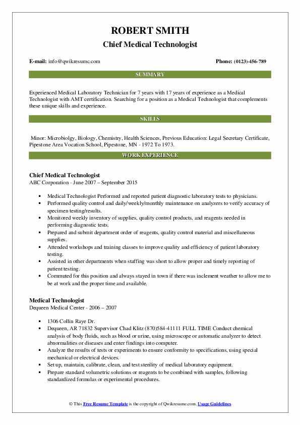 Chief Medical Technologist Resume Sample