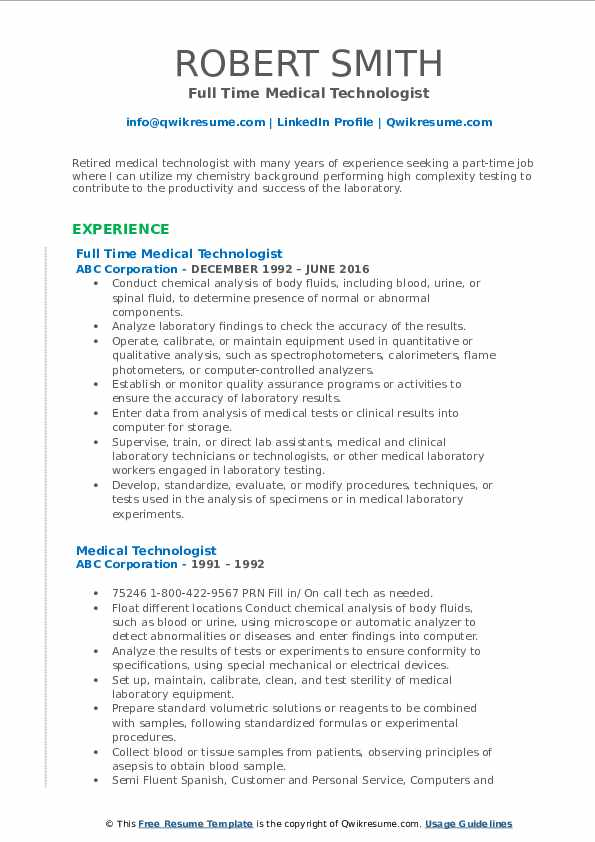 Full Time Medical Technologist Resume Model
