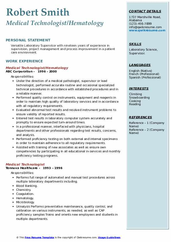 Medical Technologist Resume Samples Qwikresume
