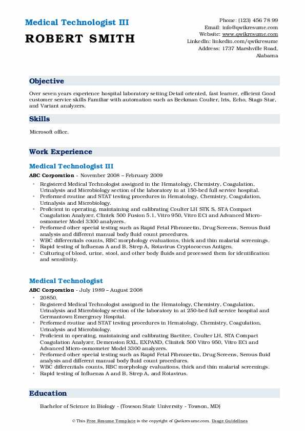 Medical Technologist III Resume Template