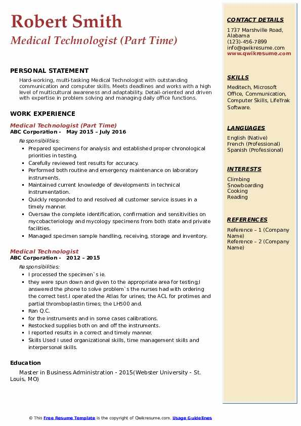 Medical Laboratory Scientist Resume Samples Qwikresume