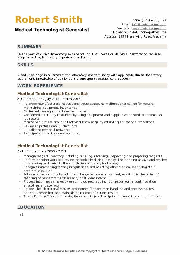 Medical Technologist Generalist Resume example